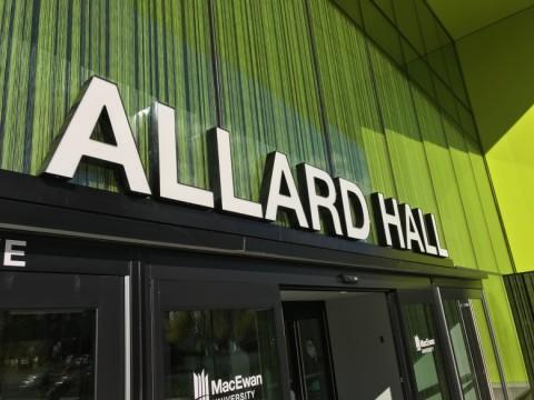 Allard Hall exterior signage